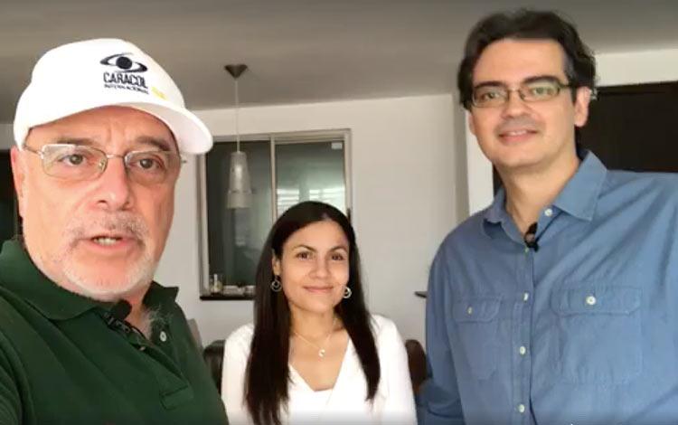 Con Jorg Hiller desde Bogotá y su esposa escr...